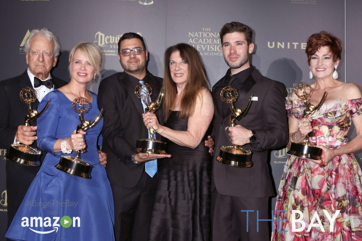 Pasadena, CA. 28th Apr, 2017. Nicolas Coster, Mary Beth Evans, Gregori J. Martin, Wendy Riche, Kristos Andrews, Carlyn Hennesy in the press room for The Daytime Creative Arts Emmy Awards - PRESS ROOM, Pasadena Civic Center, Pasadena, CA April 28, 2017. Cr